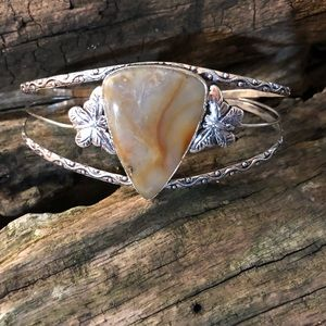 Natural Plume Agate sterling silver cuff